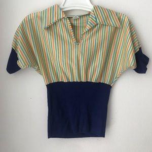 Tops - Vintage Collared Stripe Top